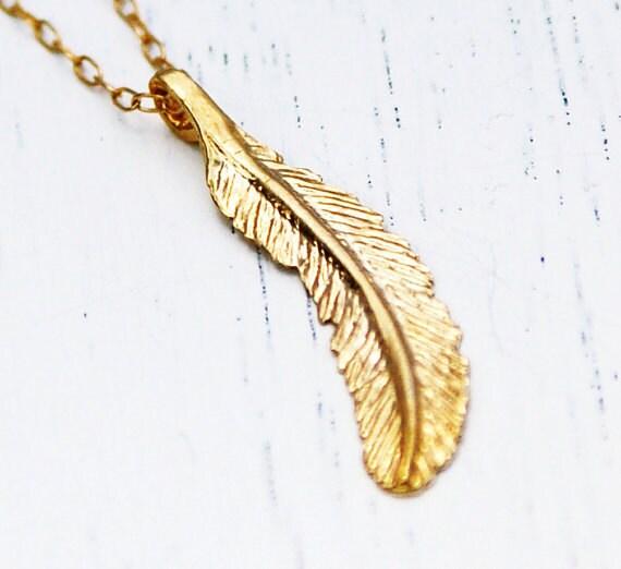 Goldkette mit federanhänger  Feder Halskette gold Kette extra lange Halskette