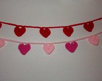 55 Inch Hand Crochet Heart Garland