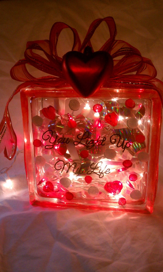 Items similar to romantic 7 5 square glass block lighted decoration valentine 39 s night light - Glass block decoration ideas ...