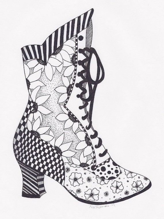Items Similar To Zentangle Victorian Boot Steampunk Vintage Valentine Christmas On Etsy