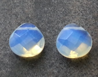 2 pieces Large Faceted Opalized Glass Briolettes 14mm x13mm