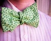 Unisex Leaves Leaf Vine Green Bow Tie - Self Tie