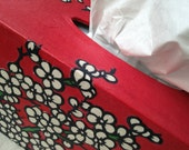 Red Korean Hanji Tissue Box Cover with Plum Blossoms Designs - HanjiNaty