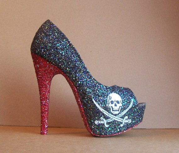 Items similar to Jolly Roger Pirate Glitter High Heels on Etsy