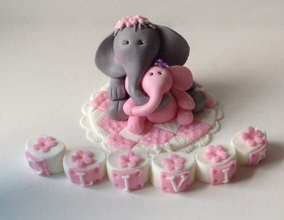 fondant elephant safari baby shower cake topper mama and baby elephant