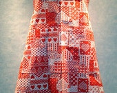 Red and White Hearts Print Bib Apron