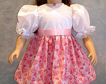 Pink and White Glittery Hearts Dress made to fit 23 inch dolls