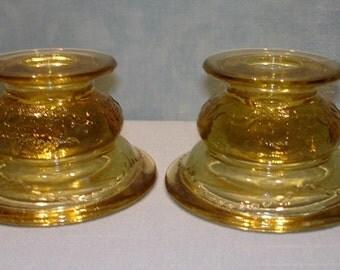 Madrid Amber Depression Glass Candlesticks