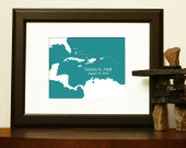 Custom Wedding Map - Destination Wedding Guestbook - Journey Map of Caribbean - St Lucia, Dominican Republic, Jamaica, Bahamas