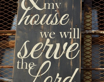 """Large Distressed Wood Word Sign Salvaged Vintage Architectural Feel """"As For Me and My House, We Will Serve the Lord"""""""