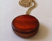 Truely Unique Pocket Watch of Mahogany and Purple Heart ring with Padauk  circle