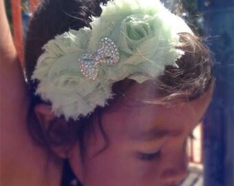 Mint Green Color Shabby Chiffon Flower Headband, Girl Headband, Baby Girl Headband, Infant Girl Headband, Newborn Girl Headband