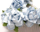 Pale Blue Light Aqua Floral Hair Comb Set of Two Wedding Flower Accessory
