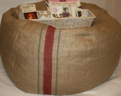 "23"" Diameter - Rustic Burlap Stripe Beanbag with Filling, Home Decor, Furniture, Pouf  -   Great for outdoor or indoor - JiaHomeCollection"