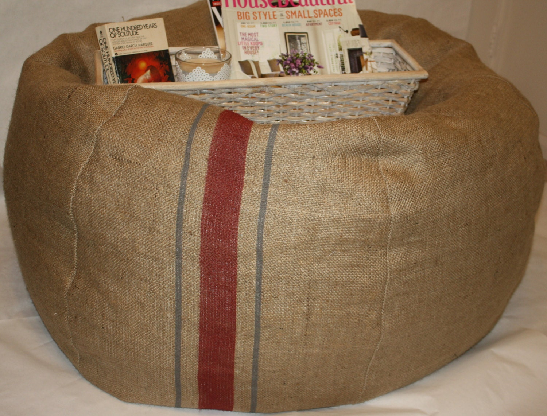 Rustic Burlap Stripe Bean Bag Madison By Noellebdecor On Etsy