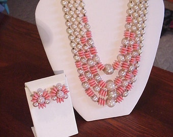 Exquisite 1950's Vintage 4 Strand Jeweled Necklace w/Matching Earrings