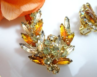 Vintage Amber and Yellow Brooch and Earring Demi-Parure Set