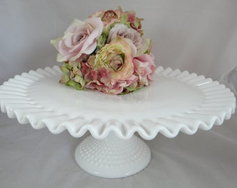 Vintage Fenton Milk Glass Hobnail Cake Stand with Fluted Edge - Gorgeous White Cake Stand