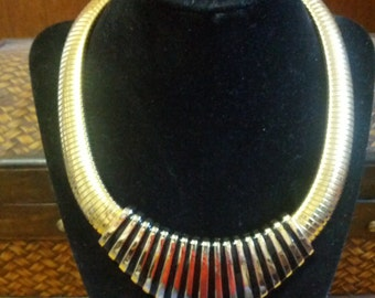 Vintage Egyptian gold tone metal and enamel choker style necklace