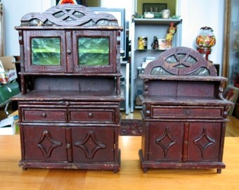1920s Set of 2 Pine Larger Scale Doll Furniture