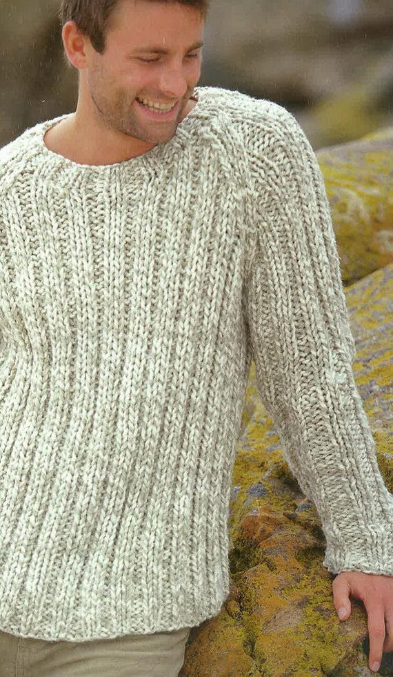 Knitting Pattern Mens Jumper Sweater Jersey 38ins 48ins