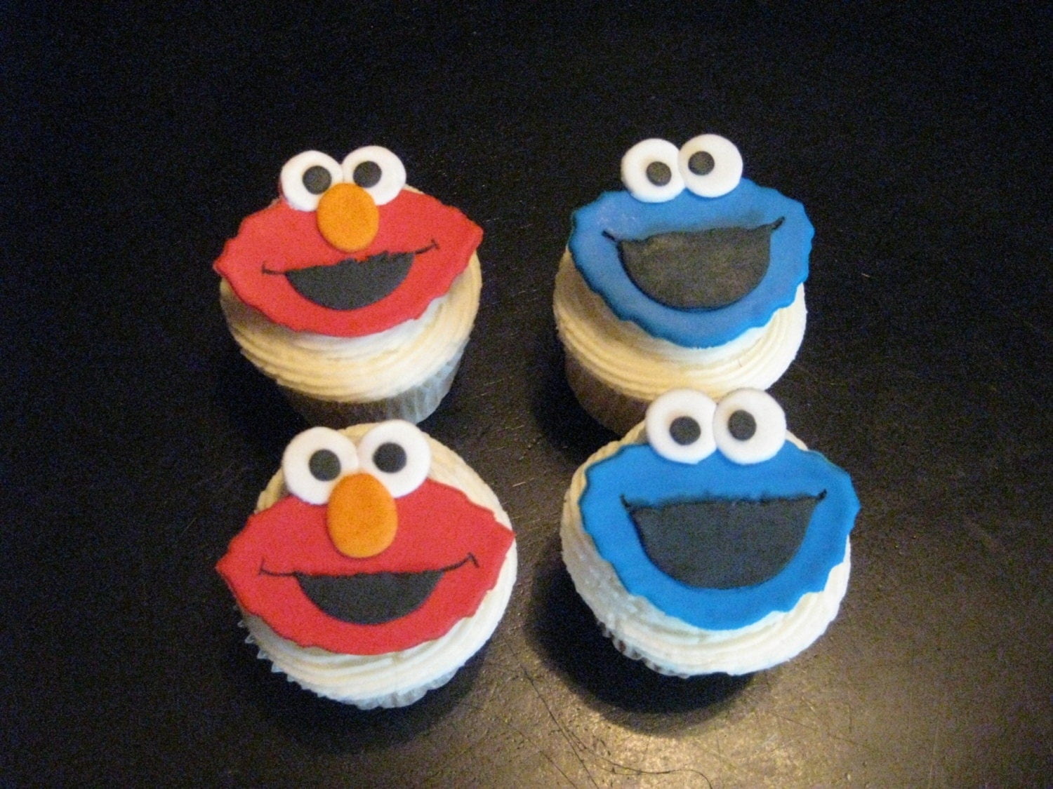 Sesame Street Elmo and Cookie Monster Fondant Cupcake Toppers