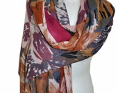 Colorful scarf, multicolor pattern, pink, violet, brown, shawl