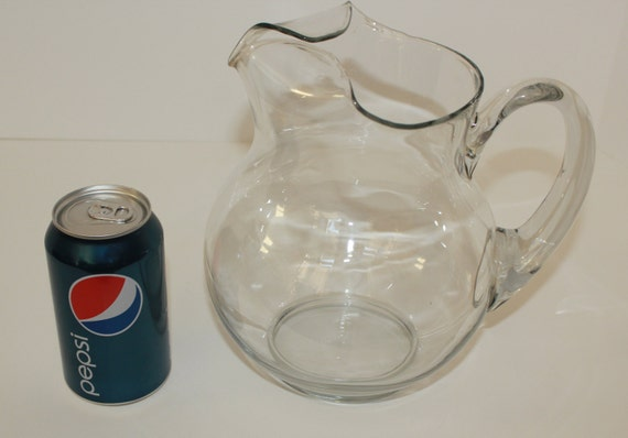 Vntage Kool Aid Style Clear Glass Pitcher By Vintagecharmers