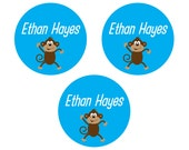 40 Round Personalized, waterproof, dishwasher-safe, vinyl labels - Customizable