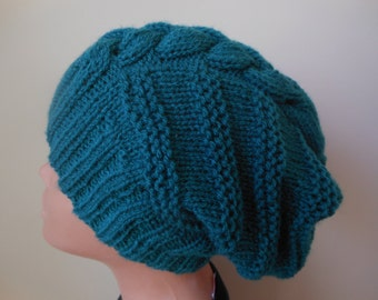 Hand Knit Cable Slouchy Beanie Hat Acrylic Green Color