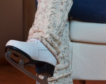 Hand Knitted Cable Leg Warmers Legwarmers Color Cream Tweed