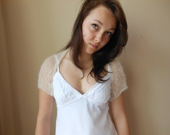 Knitted  Shrug Bolero Summer Shrug Lace Off White Kid Mohair Silk