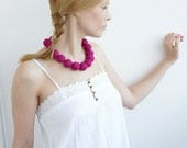 Fuchsia short long beads necklace of from cotton for women textile neon