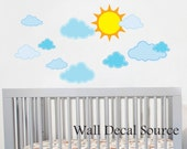 Sun and Clouds Wall Decal - Sky Wall Decal - Nursery Wall Decal