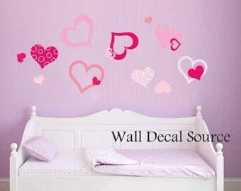 Pretty Heart Decal - Heart Wall Decals - Girls Wall Decals - Heart Decals - Heart Wall Stickers