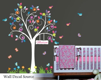 Floral Wall Decal - Colorful Swirly Tree Sticker - Nursery Tree Decal - Reusable Available