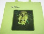 Dracula color green cloth bag with rhinestones