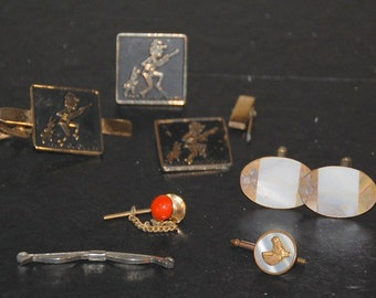 Eclectic Mid Century Assortment of Cuff Links, Tie Pins and Clips