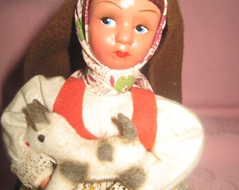 La Fa Handmade Doll Made in Portugal Carries Goat