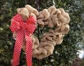 Heart Shaped Wreath - Valentine Wreath - Burlap Wreath - Heart Wreath