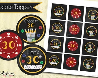 Poker and Beer Cupcake Toppers or Gift Tags