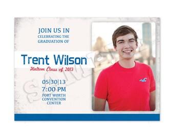 Printable Male Graduation Invitation with Photo