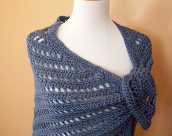 Crocheted Triangle Shawl / Wrap / Scarf /  Blue