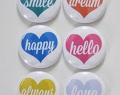 Set of 6 Heart Notes Craft Scrapbooking Flat Back Badges Pins Flair