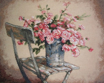 Roses on a  White Chair - Completed Cross Stitch Picture