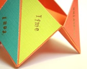 RESERVED - Stefanie Mothers Day fortune cookie card, multicolored, teal, lime, coral