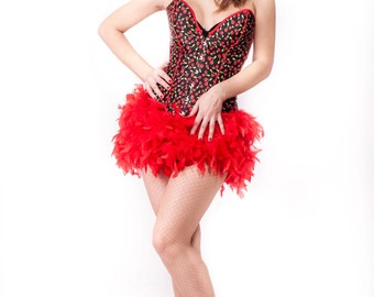 Burlesque Cherry corset with amazing feathers skirt