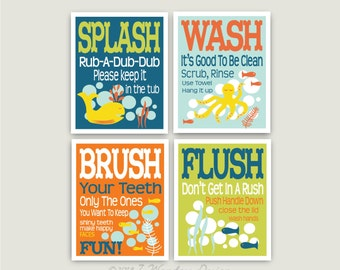 "Childrens Kids Bathroom Art Prints Set of (4) 8"" x 10"" Fine Art Home Decor Colors - Seablue Lime Orange Light Rain"