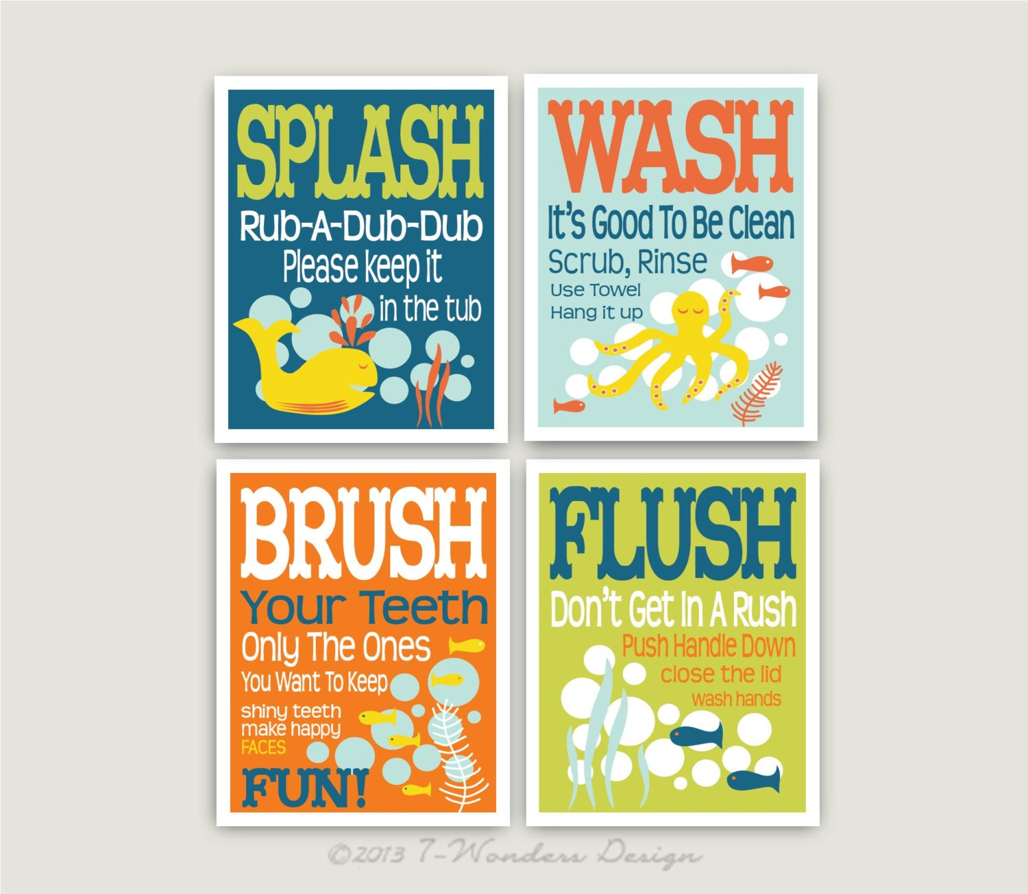 Childrens Kids Bathroom Art Prints Set Of 4 8 X By 7WondersDesign
