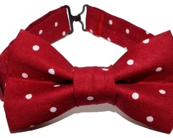 Bow Tie - Red with White Polka Dots Bowtie